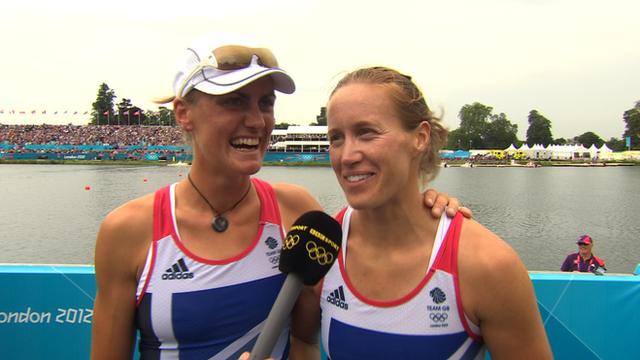 Great Britain's Helen Glover and Heather Stanning celebrate winning GB's first Olympic Gold medal of London 2012