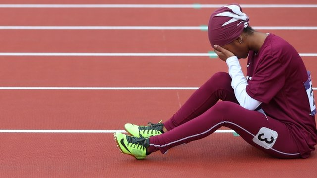 Noor Al-Malki pictured after failing to finish her 100m heat