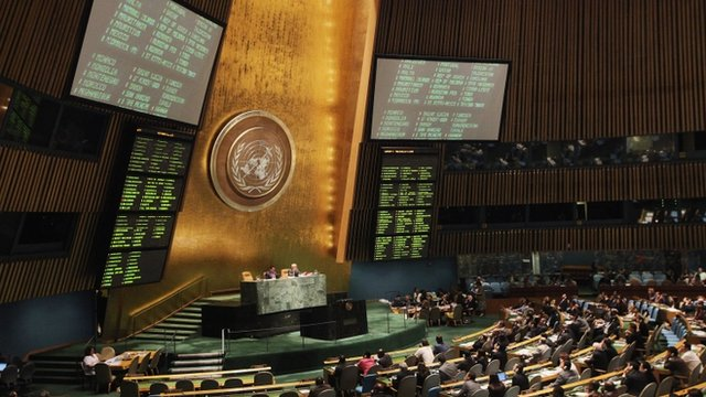 The United Nations General Assembly votes on a resolution on Syria at UN headquarters on 3 August 3 2012