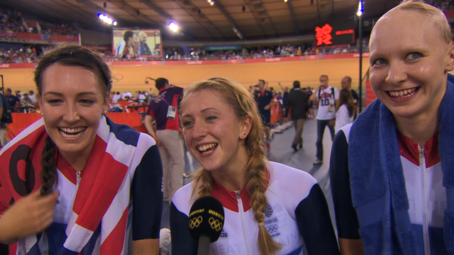 GB's cycling team pursuit goal medalists Dani King, Laura Trott and Joanna Rowsell