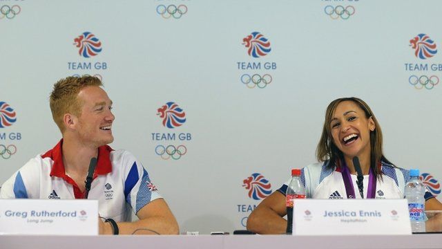 Olympic athletes Greg Rutherford and Jessica Ennis