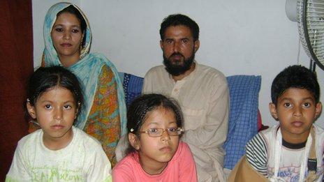 Abdul Rashid Khan with wife Zeba and their three children