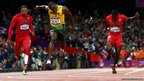 Usain Bolt of Jamaica crosses the finish line to win the Men's 100m Final