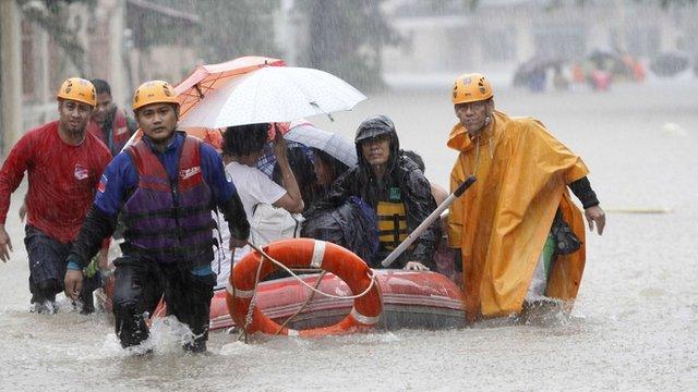 Flood-hit residents evacuated in Marikina City, Manila, Philippines on 7/8/12