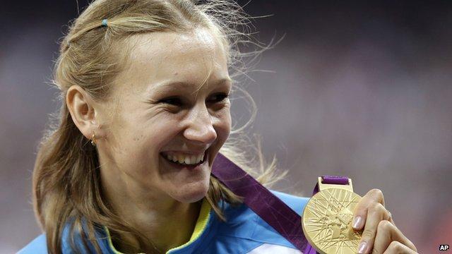 Olga Rypakova won gold in the women's triple jump