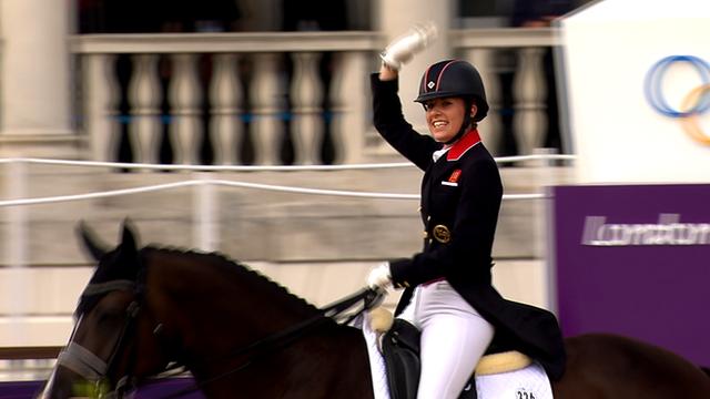 Charlotte Dujardin on Valegro celebrates