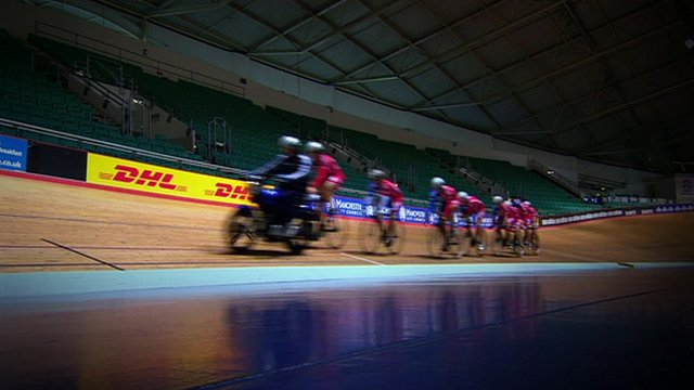 Cyclists at Manchester Velodrome