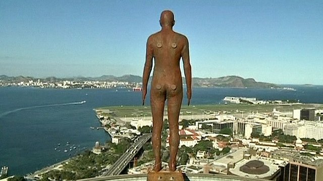 One of Anthony Gormley's iron sculptures in Rio de Janeiro