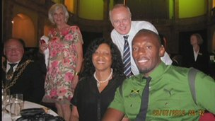 Bolt at and his cousin at the university dinner