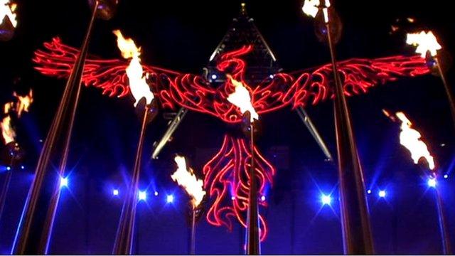 A phoenix in flames