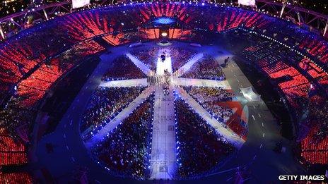 Olympic stadium during the closing ceremony