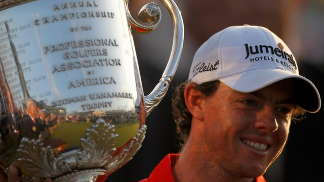 Rory McIlroy with the USPGA trophy