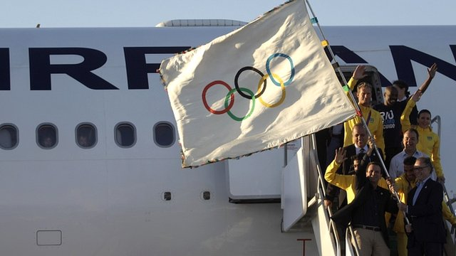 The Olympic flag arrives in Rio de Janeiro
