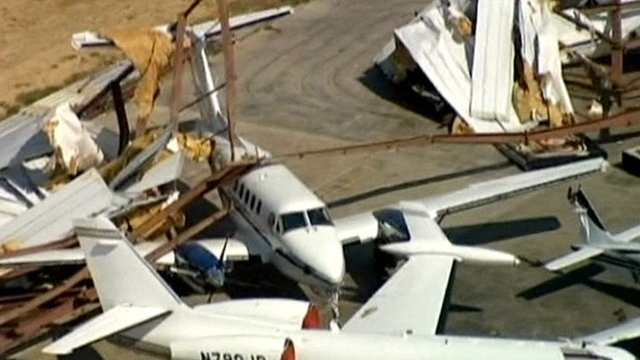 Damaged planes in Texas