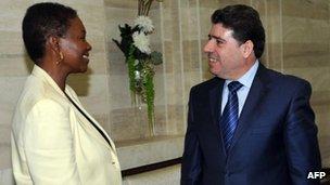 UN under-secretary general Valerie Amos with Syrian PM Wael al-Halqi