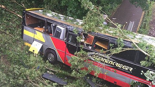 The coach came off a viaduct at the bottom of Brassknocker Hill