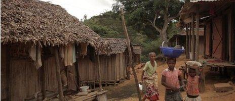 A village scene in Madagascar
