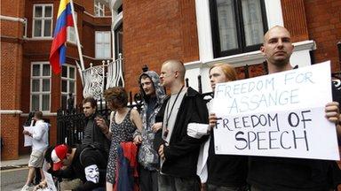 Supporters of WikiLeaks founder Julian Assange outside Ecuador's embassy in London