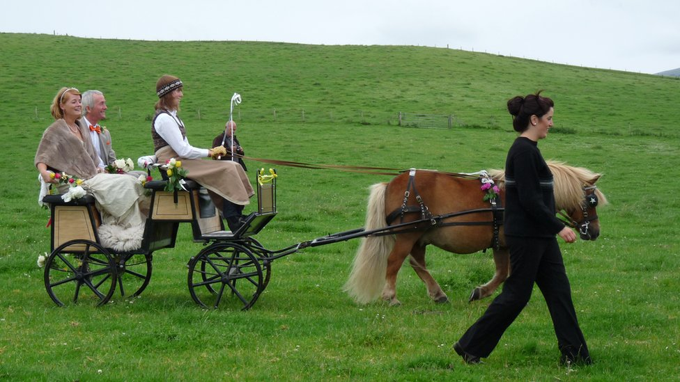 People in a Shetland pony and trap