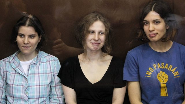 Pussy Riot defendants, from left to right, Yekaterina Samutsevich, Maria Alyokhina and Nadezhda Tolokonnikova
