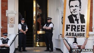 Protests outside Ecuador's embassy in London