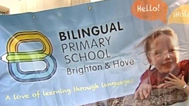 A sign for Brighton's bilingual primary school