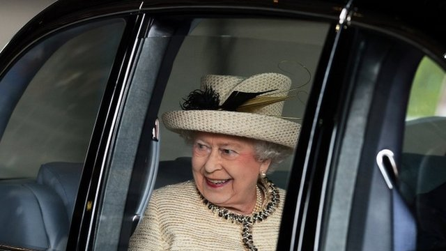 The Queen departs a visit to the Leeds Arena