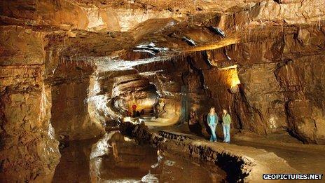 Inside the Dan-yr-Ogof caves