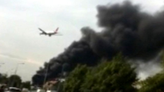 Smoke from tyre fire near Heathrow Airport