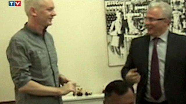 Julian Assange with his Spanish lawyer inside the Ecuadorian embassy