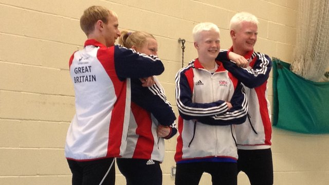 David and Adam pose with the other members of their ParalympicsGB goalball squad