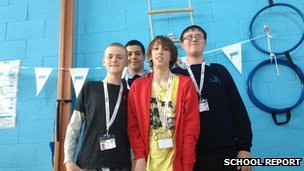 The Boccia young referees from John Grant School, William, Chris, David and Casey