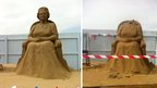 The sand sculpture of the Queen was beheaded