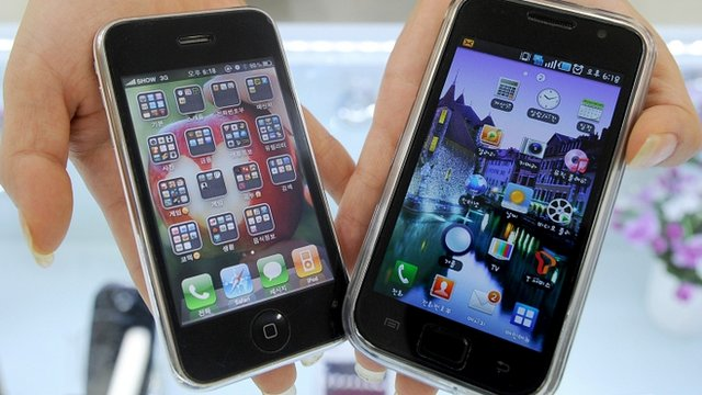 Apple iPhone and Samsumng Galaxy phone