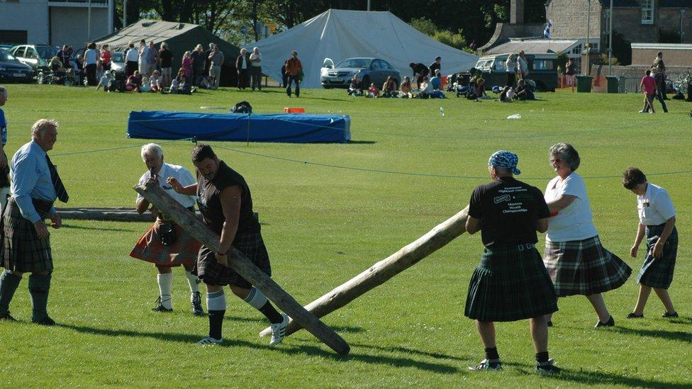Broken caber at a Highland Games event