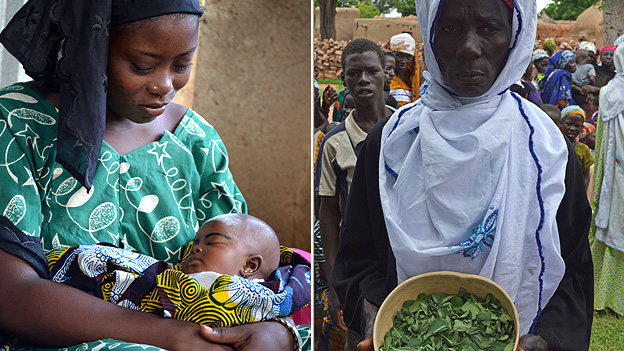 Mother will malnourished baby (left); woman with leaves (right)