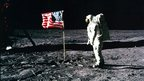 Buzz Aldrin stands on the surface of the Moon, 20 July 1969