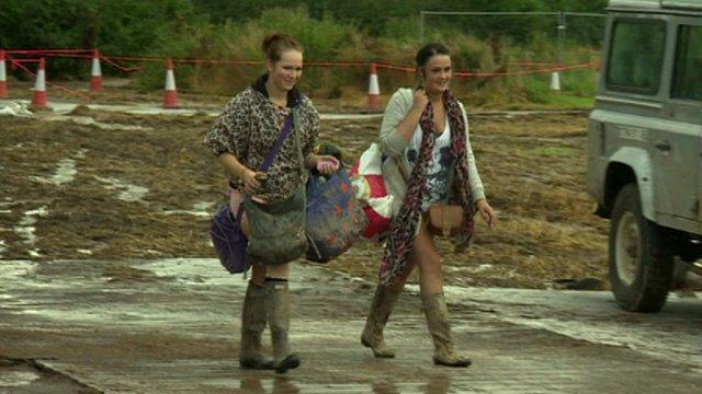 People leaving Creamfields