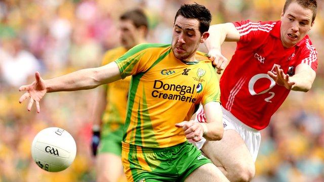 Mark McHugh in action against Cork
