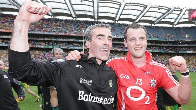 Donegal manager Jim McGuinness celebrating with Michael Murphy
