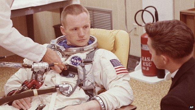 Neil Armstrong in space suite