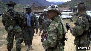Farc members in Cauca province on 29 July 2012