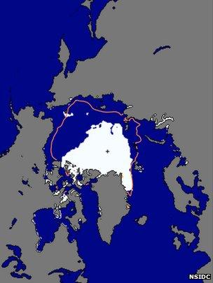 NSIDC sea ice extent map