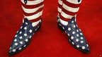 A member of the California delegate wears a pair of American flag cowboy boots at the Republican National Convention in Tampa, Florida 28 August 2012