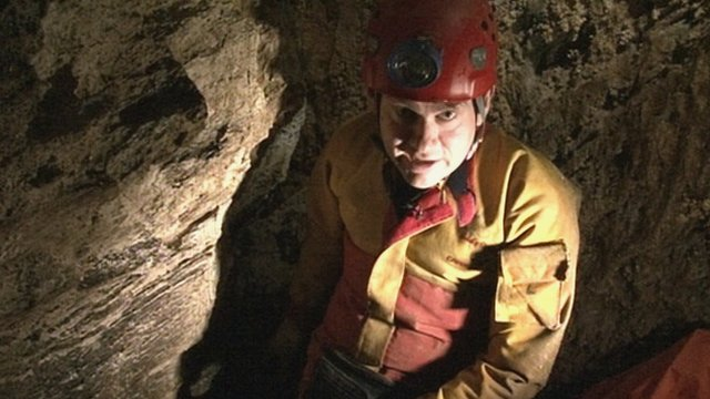 Kevin Keane in one of the discovered caves