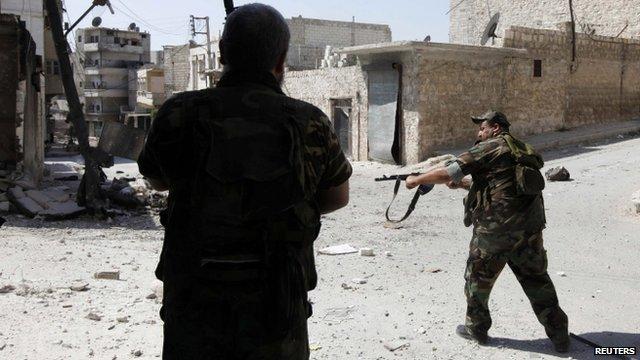 Fighters in Aleppo