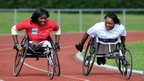 Dedeline Mibamba Kimbatahas (left) a Paralympian from the Democratic Republic of Congo in London - Friday 24 August 2012