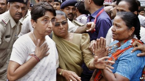 Maya Kodnani, left, at a special court in Ahmedabad on 31 August, 2012