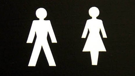 Public convenience sign depicting man and woman