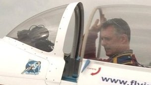 Pilot in his plane before taking off from Tollerton